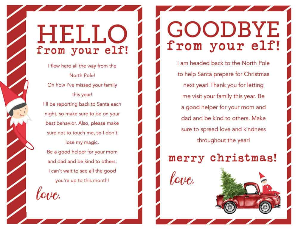 elf on the shelf arrival and goodbye letters