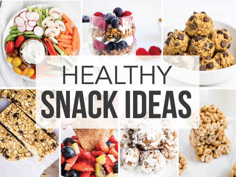 collage of healthy snacks